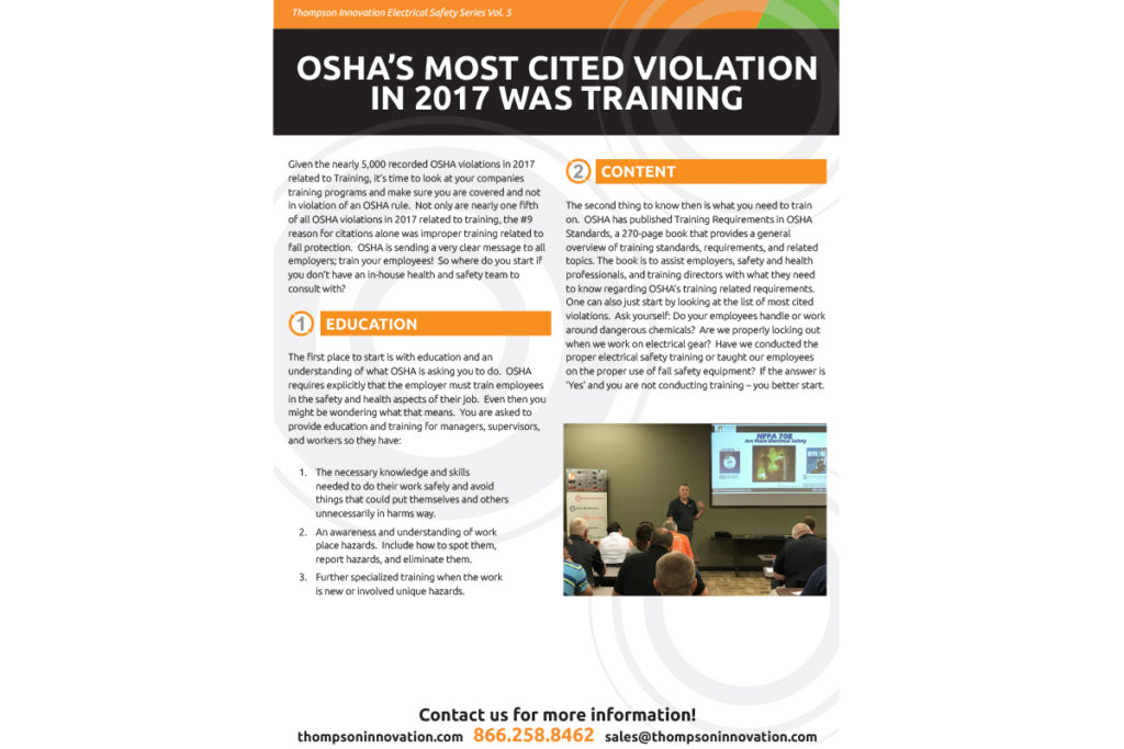OSHA's Most Cited Violation in 2017 Was Training | Thompson