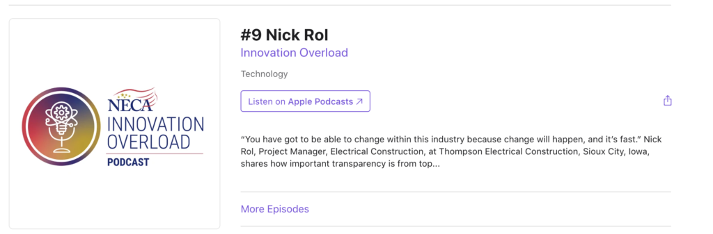 NECA Innovation Overload Podcast interview with Nick Rol
